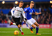 Johnny Russle of Derby battles with Maikel Kieftenbeld of Birmingham during the Sky Bet Championship match between Birmingham City and Derby County at St Andrews, Birmingham, England on 13 January 2018. Photo by Bradley Collyer / PRiME Media Images.
