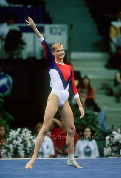 July 26, 1998; New York, NY, USA; Artistic gymnast Svetlana Khorkina of Russia finishes performing floor exercise at 1998  Goodwill Games New York. Copyright 1998 Tom Theobald