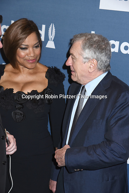 Robert De Niro and Grace Hightower attends the 27th Annual GLAAD Media Awards on May 14, 2016 at the Waldorf Astoria Hotel in New York City, New York, USA.<br /> <br /> photo by Robin Platzer/Twin Images<br />  <br /> phone number 212-935-0770