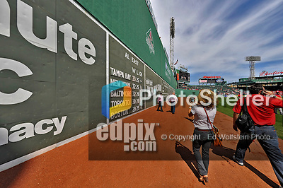 """9 June 2012: Washington Nationals executives approach the """"Green Monster"""" during the inter league series against the Boston Red Sox at Fenway Park in Boston, MA. The Nationals defeated the Red Sox 4-2 in the second game of their 3-game series. Mandatory Credit: Ed Wolfstein Photo"""