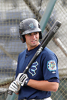 Everett Aquasox outfielder James Wood #28 before game against the Vancouver Canadians at Everett Memorial Stadium on August 8, 2011 in Everett,Washington. Everett defeated Vancouver 5-1.(Larry Goren/Four Seam Images)