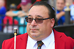 "Sam ""The Bugler"" Grossman calls the horses to the post for the final time and retires after 25 years as NYRA's bugler on closing day on September 03, 2018 at the Saratoga Race Course in Saratoga Springs, New York.  A ceremony after the fifth race involving NYRA President Chris Kay and Sam's twin brother, Irv, highlights the day.  (Bob Mayberger/Eclipse Sportswire)"
