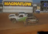 Apr 16, 2011; Surprise, AZ USA; LOORRS driver Greg Adler (10) spins after contact with Jeff Geiser (44) during round 3 at Speedworld Off Road Park. Mandatory Credit: Mark J. Rebilas-