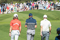 Sergio Garcia (ESP) Tommy Fleetwood (ENG) and Matthew Fitzpatrick (ENG) during second round at the Omega European Masters, Golf Club Crans-sur-Sierre, Crans-Montana, Valais, Switzerland. 30/08/19.<br /> Picture Stefano DiMaria / Golffile.ie<br /> <br /> All photo usage must carry mandatory copyright credit (© Golffile | Stefano DiMaria)