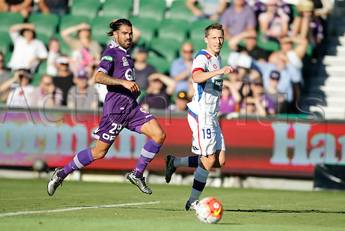 07.03.2016, Perth, Australia. Hyundai A-League, Perth Glory versus Newcastle Jets. Josh Risdon (29) and Morten Nordstrand (19) watch the ball during the first half.