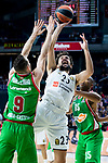 Real Madrid Sergio Llull and Kirolbet Baskonia Marcelinho Huertas and Jayson Granger during Turkish Airlines Euroleague match between Real Madrid and Kirolbet Baskonia at Wizink Center in Madrid, Spain. October 19, 2018. (ALTERPHOTOS/Borja B.Hojas)