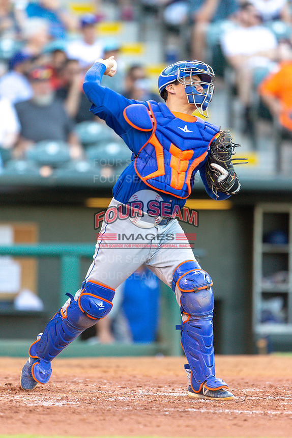 Jose Lobaton (59) of the Las Vegas 51s throws to second base during a game against the Oklahoma City Dodgers at Chickasaw Bricktown Ballpark on June 17, 2018 in Oklahoma City, Oklahoma. Oklahoma City defeated Las Vegas 5-3  (William Purnell/Four Seam Images)