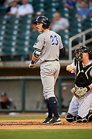 Pensacola Blue Wahoos third baseman Taylor Sparks (23) at bat in front of catcher Zack Collins (24) during a game against the Birmingham Barons on May 8, 2018 at Regions Field in Birmingham, Alabama.  Birmingham defeated Pensacola 5-2.  (Mike Janes/Four Seam Images)