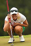 Pernilla Lindberg of Sweden lines up a putt on the 3rd green during day one of the Sunrise LPGA Taiwan Championship 2011 at the Sunrise Golf & Country Club on 20 October 2011 in Tao Yuan, Taiwan. Photo by Victor Fraile / The Power of Sport Images
