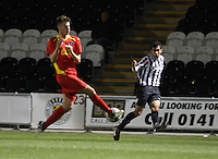 Kerr Young blocks the cross from Mo Yaqub in the St Mirren v Dunfermline Athletic Clydesdale Bank Scottish Premier League U20 match played at St Mirren Park, Paisley on 2.10.12..