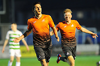 Pictured: Simon Paulet of Swansea City u19's celebrates scoring his side's second goal during the FAW youth cup final between Swansea City and The New Saints at Park Avenue in Aberystwyth Town, Wales, UK.<br /> Wednesday 17 April 2019