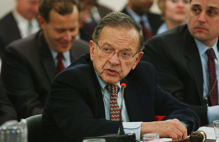 11/16/04.FOREIGN OPERATIONS APPROPRIATIONS CONFERENCE--Senate Appropriations Chairman Ted Stevens, R-Alaska, during the joint House-Senate conference on foreign operations appropriations, which will be the vehicle for the larger package as appropriators continued Wednesday to hash out the final details of an omnibus fiscal 2005 appropriations package that Republican leaders plan to clear for the president late this week..CONGRESSIONAL QUARTERLY PHOTO BY SCOTT J. FERRELL