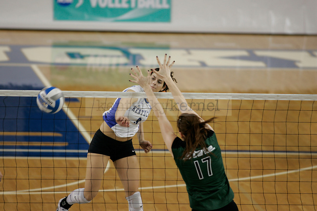 UK's Sarah Mendoza attempts the kill against Michigan State at Memorial Coliseum on Friday, Dec. 4, 2009. Photo by Scott Hannigan | Staff