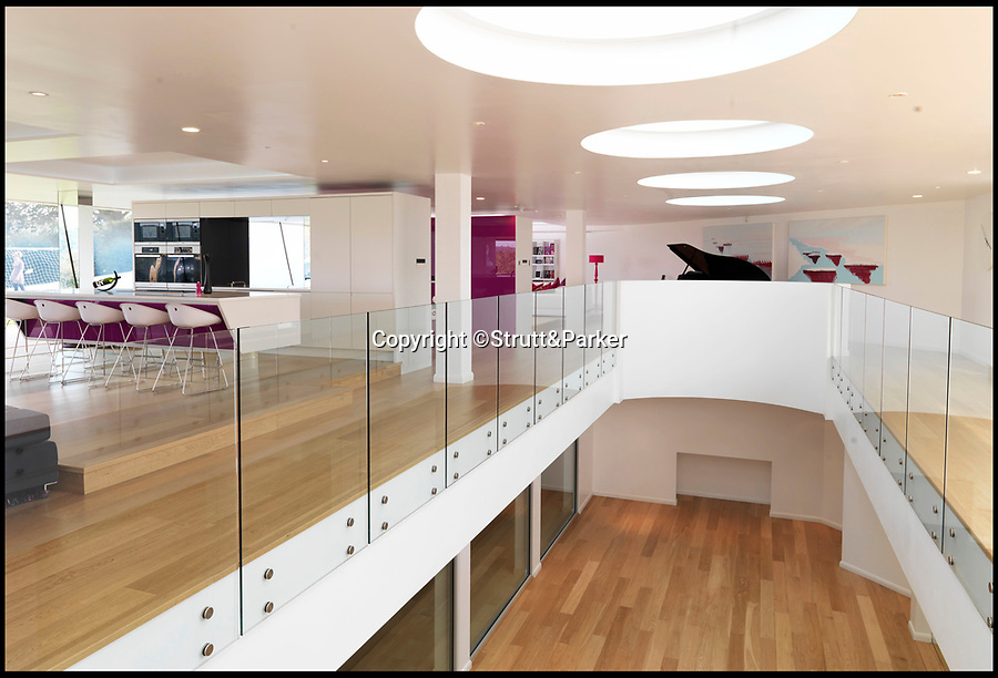 BNPS.co.uk (01202 558833)Pic: Strutt&Parker/BNPS<br /> <br /> An incredible contemporary mansion that is built half underground has gone on the market for almost £4m.<br /> <br /> The modern home is called Steppingstone after the six large circular skylights built into the ground to flood the subterranean part of the property with light.<br /> <br /> The property is the ultimate party pad that has its own sports bar and music area.<br /> <br /> It also has an indoor games area were cricket, badminton and football can be played as well as a swimming pool, sauna/steam room, gym and hot tub.<br /> <br /> Outside, there is a 3G-surfaced 5-aside football pitch and zip wire.