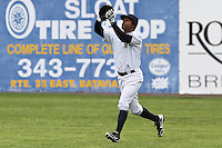 Scranton/Wilkes-Barre Yankees outfielder Dewayne Wise caught a pop up during the second inning at Dwyer Stadium in Batavia, New York on April 22, 2012.
