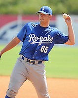 Pitcher Rudy Brown (65) of the Burlington Royals, Appalachian League affiliate of the Kansas City Royals, prior to a game against the Kingsport Mets on August 20, 2011, at Hunter Wright Stadium in Kingsport, Tennessee. Kingsport defeated Burlington, 17-14. (Tom Priddy/Four Seam Images)