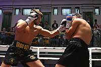 Yaser Al-Ghena (black/gold shorts) defeats Qasim Hussain during a Boxing Show at York Hall on 8th June 2019