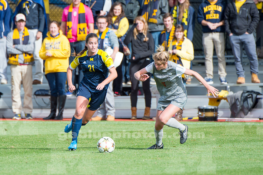 The University of Michigan women's soccer team; 2-2 tie in double (OT) to Ohio State University, at the Michigan Soccer Field in Ann Arbor, Mich. on October 19, 2014.
