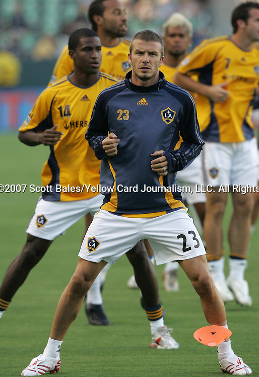23 August 2007: Los Angeles' David Beckham (ENG) (23) and Edson Buddle (14) during pregame warmups. The Los Angeles Galaxy played Club Deportivo Chivas in a Major League Soccer regular season match at the Home Depot Center in Carson, CA.