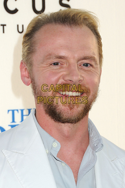 Simon Pegg<br /> 'The World's End'Los Angeles Premiere held at the Cinerama Dome, Hollywood, California, USA.<br /> August 21st, 2013<br /> headshot portrait suit white blue shirt beard facial hair<br /> CAP/ADM/BP<br /> &copy;Byron Purvis/AdMedia/Capital Pictures