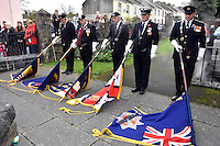 Ex servicemen bring down the flags during Remembrance Day Sunday in Pembroke Dock, west Wales, UK. SUnday 13 November 2016