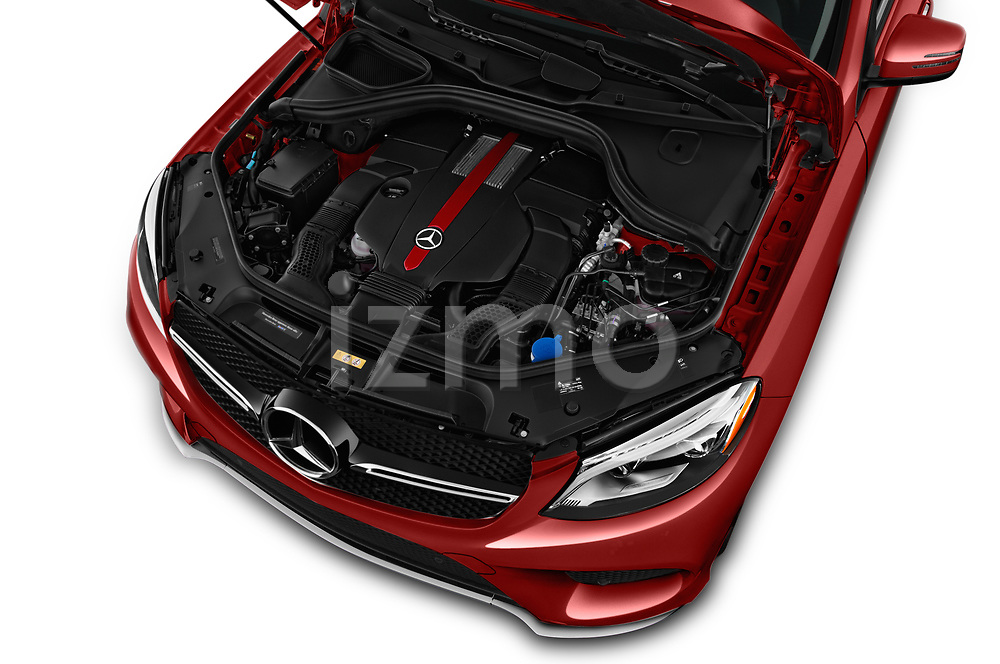 Car Stock 2017 Mercedes Benz GLE-Class-Coupe GLE43-AMG 5 Door SUV Engine  high angle detail view