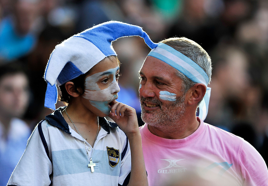 Argentina fans before the game<br /> <br /> Photographer Ashley Western/CameraSport<br /> <br /> Rugby Union - 2015 Rugby World Cup - New Zealand v Argentina - Sunday 20th September 2015 - Wembley Stadium - London <br /> <br /> &copy; CameraSport - 43 Linden Ave. Countesthorpe. Leicester. England. LE8 5PG - Tel: +44 (0) 116 277 4147 - admin@camerasport.com - www.camerasport.com