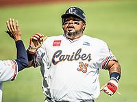 Luis Jimenez, de los Caribes de Anzoátegui de Venezuela, celebra la primer carrera del partido en la parte baja del segundo inning, contra Caguas de Puerto Rico, durante la Serie del Caribe en estadio Panamericano en Guadalajara, México, Miércoles 7 feb 2018.  (Foto: AP/Luis Gutierrez)