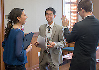 Occidental and Scripps College students participate on the final day of The Fullbridge Program's Internship Edge on Jan. 17, 2014 in Dumke Commons of Swan Hall. Students presented their team projects and talked with professionals. The program was hosted by Occidental College in conjunction with Scripps College. 20 students were engaged in the intensive, professionalized, skill-building program which focused on careers in finance, business and entrepreneurship. (Photo by Marc Campos, Occidental College Photographer)