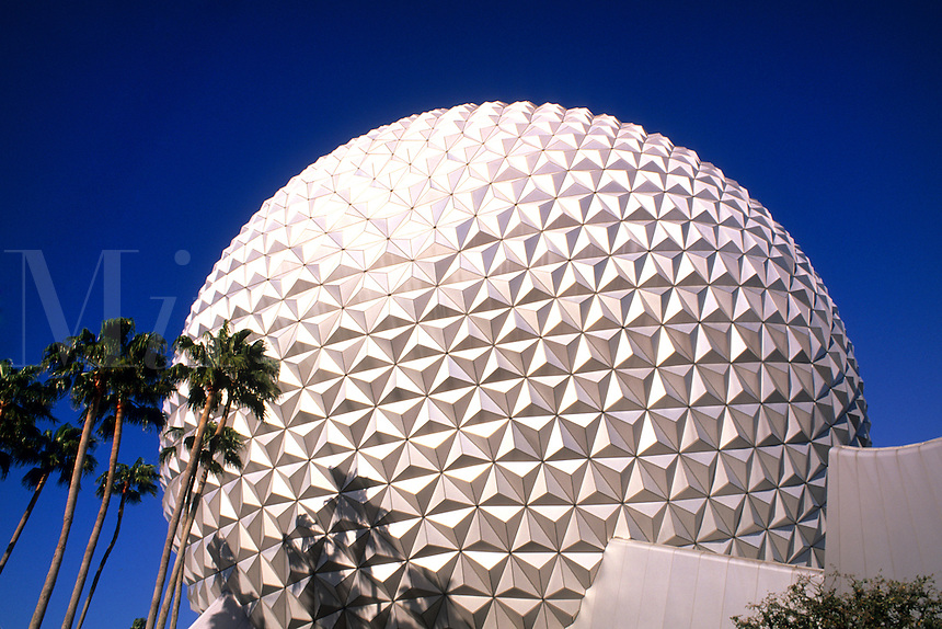 Close up of globe ball for Epcot of Walt Disney World in Orlando Florid