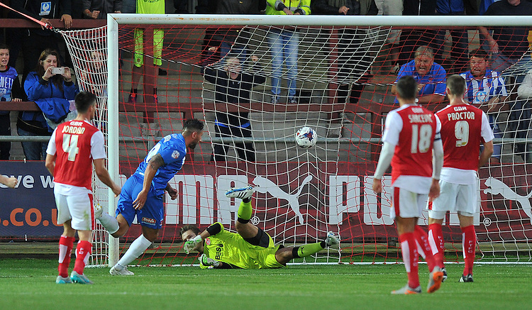 Hartlepool United's Billy Paynter scores his teams opening goal<br /> <br /> Photographer Dave Howarth/CameraSport<br /> <br /> Football - Capital One Cup First Round - Fleetwood Town v Hartlepool United - Tuesday 11th August 2015 - Highbury Stadium - Fleetwood<br />  <br /> &copy; CameraSport - 43 Linden Ave. Countesthorpe. Leicester. England. LE8 5PG - Tel: +44 (0) 116 277 4147 - admin@camerasport.com - www.camerasport.com