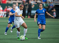 Seattle, WA - Saturday July 16, 2016: Lynn Williams, Makenzy Doniak during a regular season National Women's Soccer League (NWSL) match between the Seattle Reign FC and the Western New York Flash at Memorial Stadium.