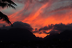 Sunset over the West Maui Mountains, viewed from Wailuku