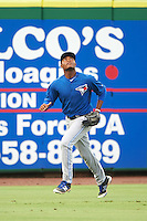 GCL Blue Jays left fielder D.J. Daniels (24) tracks a fly ball during a game against the GCL Phillies on August 16, 2016 at Bright House Field in Clearwater, Florida.  GCL Blue Jays defeated GCL Phillies 2-1.  (Mike Janes/Four Seam Images)