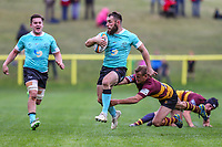 Sean Scanlon of Nottingham Rugby (centre) during the Greene King IPA Championship match between Ampthill RUFC and Nottingham Rugby on Ampthill Rugby's Championship Debut at Dillingham Park, Woburn St, Ampthill, Bedford MK45 2HX, United Kingdom on 12 October 2019. Photo by David Horn.