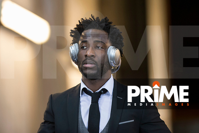 Wilfried Bony of Swansea City arrives for the EPL - Premier League match between Swansea City and Manchester City at the Liberty Stadium, Swansea, Wales on 13 December 2017. Photo by Mark  Hawkins / PRiME Media Images.