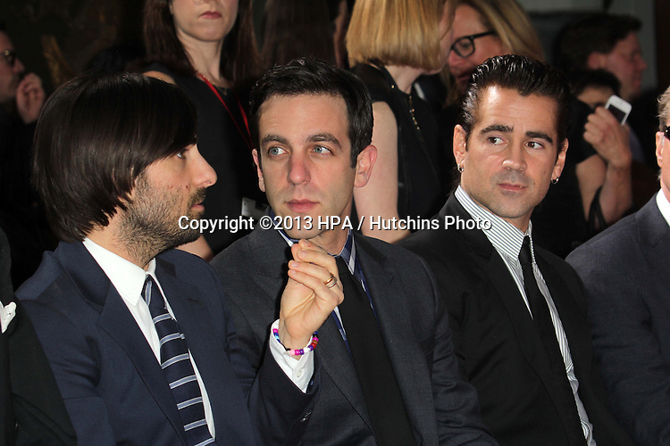 LOS ANGELES - NOV 7:  Jason Schwartzman, B.J. Novak, Colin Farrell at the Emma Thompson Hand and Footprint Ceremony at TCL Chinese Theater on November 7, 2013 in Los Angeles, CA\