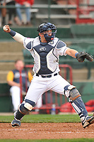 Burlington Bees catcher Keinner Pina (4) throws to second base against the Dayton Dragons at Community Field on May 3, 2018 in Burlington, Iowa.  (Dennis Hubbard/Four Seam Images)