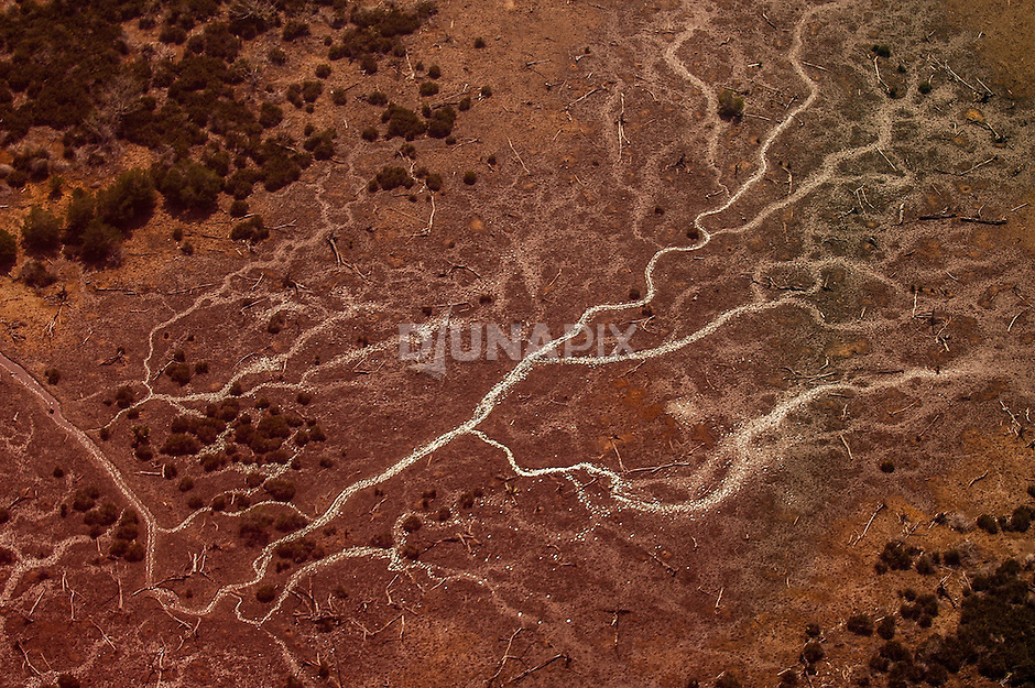 Aerial view of a blood red river drainage laid bare in East Kalimantan