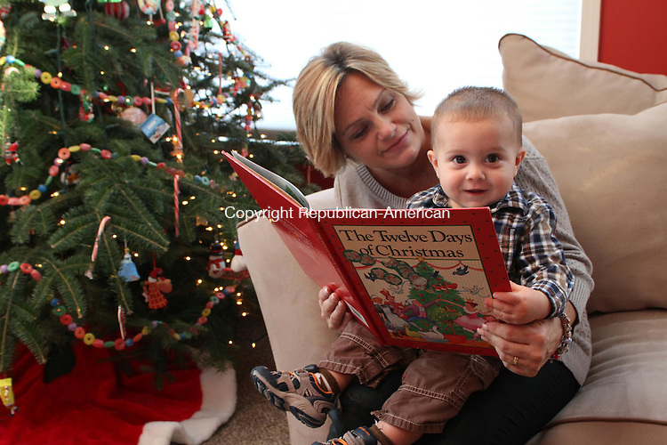 NAUGATUCK, CT-19 December 2013-121913LW04 - Lauri Wood reads to her 10-month-old son, James Wood Jr. in their Naugatuck home.<br />