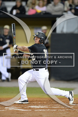 Central Florida Knights first baseman James Vasquez (13) during the season opening game against the Siena Saints at Jay Bergman Field on February 14, 2014 in Orlando, Florida.  UCF defeated Siena 8-1.  (Copyright Mike Janes Photography)
