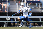 08 February 2015: Duke's Tanner Scott. The Duke University Blue Devils hosted the United States Air Force Academy Falcons at Koskinen Stadium in Durham, North Carolina in a 2015 NCAA Division I Men's Lacrosse match. Duke won the game 13-7.