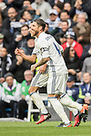 Sergio Ramos of Real Madrid celebrates with teammates after scoring during their La Liga 2016-17 match between Real Madrid and Malaga CF at the Estadio Santiago Bernabéu on 21 January 2017 in Madrid, Spain. Photo by Diego Gonzalez Souto / Power Sport Images