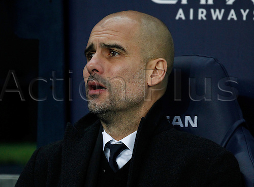21st January 2017, Etihad Stadium, Manchester, Lancashire, England; EPL Premiership football Manchester City versus Tottenham Hotspur; Manchester City manager Pep Guardiola before the game
