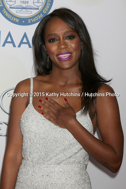LOS ANGELES - FEB 6:  Aja Naomi King at the 46th NAACP Image Awards Arrivals at a Pasadena Convention Center on February 6, 2015 in Pasadena, CA