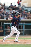 Chan-Jong Moon (3) of the Lancaster JetHawks bats during a game against the Modesto Nuts at The Hanger on April 25, 2015 in Lancaster, California. Lancaster defeated Modesto, 5-4. (Larry Goren/Four Seam Images)