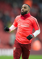 Alexandre Lacazette of Arsenal warms up during the Premier League match between Arsenal and Newcastle United at the Emirates Stadium, London, England on 16 December 2017. Photo by Vince  Mignott / PRiME Media Images.