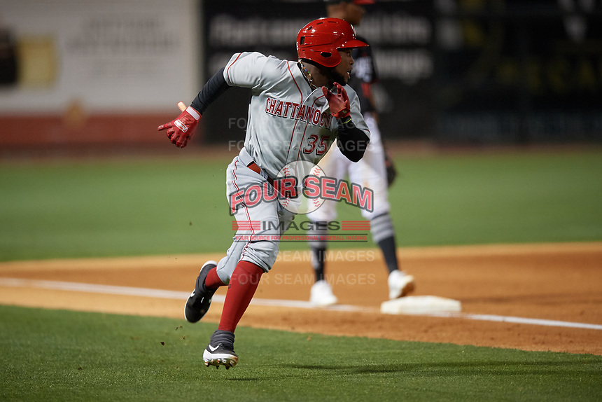 Chattanooga Lookouts Alfredo Rodriguez (35) rounds third base to score a run during a Southern League game against the Birmingham Barons on May 2, 2019 at Regions Field in Birmingham, Alabama.  Birmingham defeated Chattanooga 4-2.  (Mike Janes/Four Seam Images)