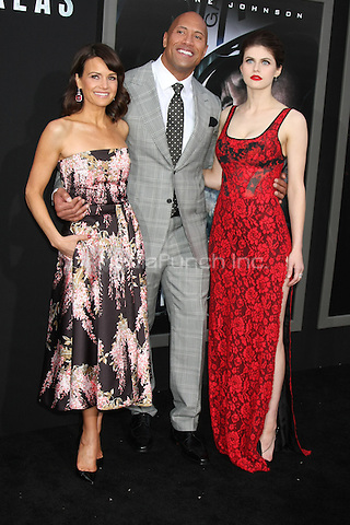 HOLLYWOOD, CA - MAY 26: Carla Gugino, Dwayne Johnson, Alexandra Daddario at the San Andreas film premiere at The TCL Chinese Theatre in Hollywood, California on May 26, 2015. Credit: David Edwards/MediaPunch