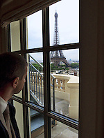 France. Department Ile-de-France. Paris. View on the Eiffel tower from the Shangri-La Hotel. The Eiffel Tower is a puddle iron lattice tower located on the Champ de Mars in Paris. Built in 1889, it has become both a global icon of France and one of the most recognizable structures in the world. The tower is the tallest building in Paris and the most-visited paid monument in the world; millions of people ascend it every year. Named after its designer, engineer Gustave Eiffel, the tower was built as the entrance arch to the 1889 World's Fair. The tower stands 324 metres tall, about the same height as an 81-storey building. Built in 1896 as the home of Prince Roland Bonaparte - Napoleon Bonaparte's grandnephew - the luxurious Shangri-La Hotel, Paris is situated in the elegant 16th arrondissement of Paris. The 81 rooms and suites - the largest among luxury hotels in Paris - offer guests the chance to enjoy an exclusive home in a unique setting. 13.07.2011 © 2005 Didier Ruef ..